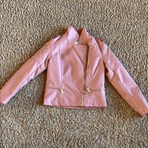Girls mauve pink faux leather moto jacket size 10